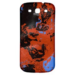 Orange Blue Black Texture Samsung Galaxy S3 S Iii Classic Hardshell Back Case by LalyLauraFLM