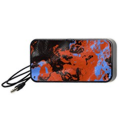 Orange Blue Black Texture Portable Speaker by LalyLauraFLM