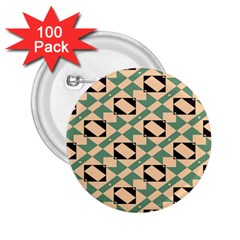 Brown Green Rectangles Pattern 2 25  Button (100 Pack) by LalyLauraFLM