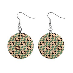 Brown Green Rectangles Pattern 1  Button Earrings by LalyLauraFLM