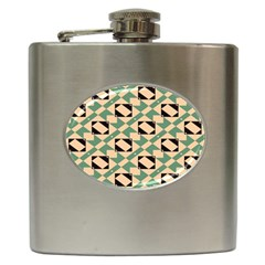 Brown Green Rectangles Pattern Hip Flask (6 Oz)