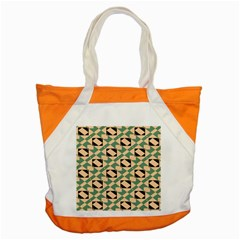 Brown Green Rectangles Pattern Accent Tote Bag by LalyLauraFLM