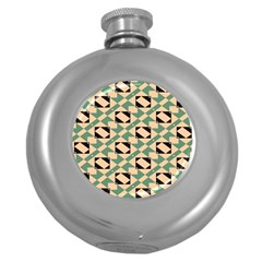Brown Green Rectangles Pattern Hip Flask (5 Oz) by LalyLauraFLM