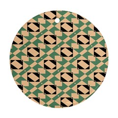 Brown Green Rectangles Pattern Round Ornament (two Sides) by LalyLauraFLM