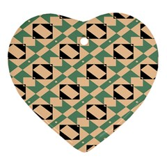 Brown Green Rectangles Pattern Heart Ornament (two Sides)