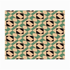 Brown Green Rectangles Pattern Glasses Cloth (small, Two Sides) by LalyLauraFLM