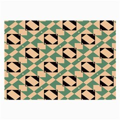 Brown Green Rectangles Pattern Glasses Cloth (large, Two Sides) by LalyLauraFLM