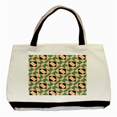 Brown Green Rectangles Pattern Basic Tote Bag (two Sides) by LalyLauraFLM