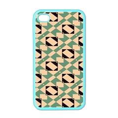 Brown Green Rectangles Pattern Apple Iphone 4 Case (color) by LalyLauraFLM