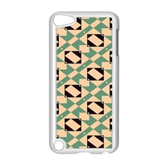 Brown Green Rectangles Pattern Apple Ipod Touch 5 Case (white) by LalyLauraFLM