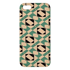 Brown Green Rectangles Pattern Apple Iphone 5 Premium Hardshell Case by LalyLauraFLM