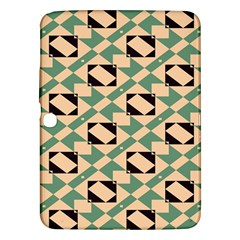 Brown Green Rectangles Pattern Samsung Galaxy Tab 3 (10 1 ) P5200 Hardshell Case  by LalyLauraFLM