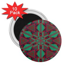 Green Tribal Star 2 25  Magnet (10 Pack) by LalyLauraFLM