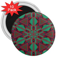 Green Tribal Star 3  Magnet (10 Pack) by LalyLauraFLM