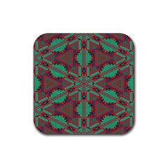 Green Tribal Star Rubber Coaster (square)