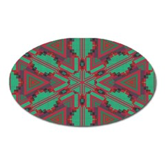 Green Tribal Star Magnet (oval) by LalyLauraFLM