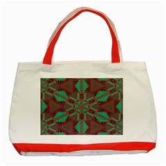 Green Tribal Star Classic Tote Bag (red) by LalyLauraFLM