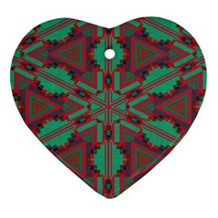 Green Tribal Star Heart Ornament (two Sides)