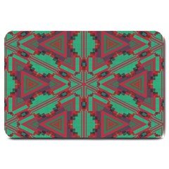 Green Tribal Star Large Doormat by LalyLauraFLM