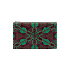 Green Tribal Star Cosmetic Bag (small) by LalyLauraFLM