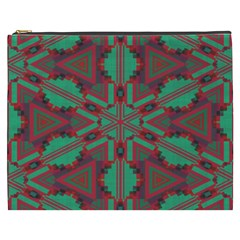 Green Tribal Star Cosmetic Bag (xxxl) by LalyLauraFLM
