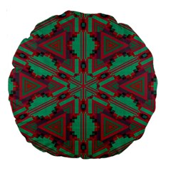 Green Tribal Star Large 18  Premium Round Cushion  by LalyLauraFLM