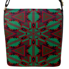 Green Tribal Star Flap Closure Messenger Bag (small) by LalyLauraFLM