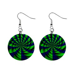 Green Blue Spiral 1  Button Earrings