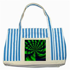Green Blue Spiral Striped Blue Tote Bag by LalyLauraFLM