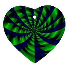 Green Blue Spiral Heart Ornament (two Sides) by LalyLauraFLM