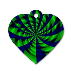 Green Blue Spiral Dog Tag Heart (one Side) by LalyLauraFLM