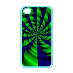 Green Blue Spiral Apple Iphone 4 Case (color) by LalyLauraFLM