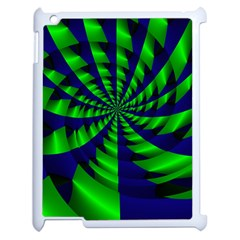 Green Blue Spiral Apple Ipad 2 Case (white) by LalyLauraFLM