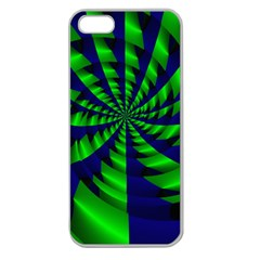 Green Blue Spiral Apple Seamless Iphone 5 Case (clear) by LalyLauraFLM