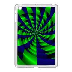 Green Blue Spiral Apple Ipad Mini Case (white) by LalyLauraFLM