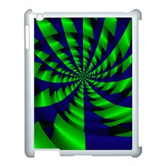 Green Blue Spiral Apple Ipad 3/4 Case (white) by LalyLauraFLM