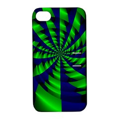 Green Blue Spiral Apple Iphone 4/4s Hardshell Case With Stand by LalyLauraFLM