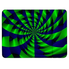 Green Blue Spiral Samsung Galaxy Tab 7  P1000 Flip Case by LalyLauraFLM