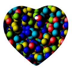 Colorful Balls Heart Ornament (two Sides) by LalyLauraFLM