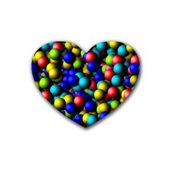 Colorful Balls Rubber Coaster (heart) by LalyLauraFLM