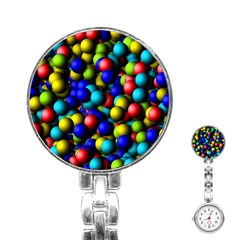 Colorful Balls Stainless Steel Nurses Watch by LalyLauraFLM