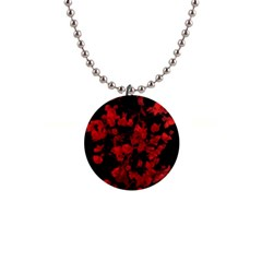 Dark Red Floral Print Button Necklace by dflcprintsclothing