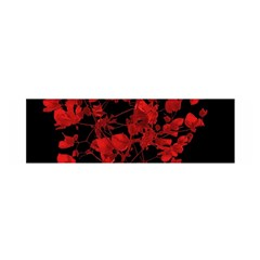 Dark Red Floral Print Satin Scarf (oblong) by dflcprintsclothing