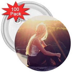 Boho Blonde 3  Button (100 Pack)