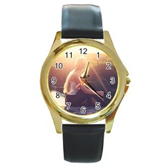 Boho Blonde Round Leather Watch (gold Rim)  by boho