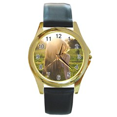Sophia Round Leather Watch (gold Rim)  by boho