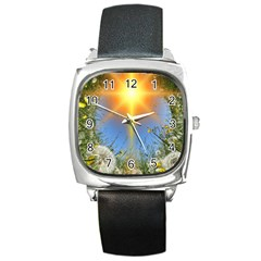 Dandelions Square Leather Watch by boho