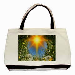 Dandelions Twin Sided Black Tote Bag