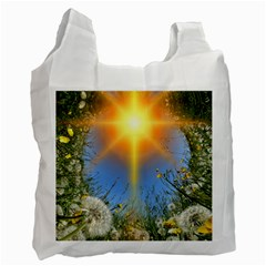 Dandelions White Reusable Bag (one Side) by boho