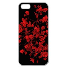 Dark Red Flower Apple Seamless Iphone 5 Case (clear) by dflcprints